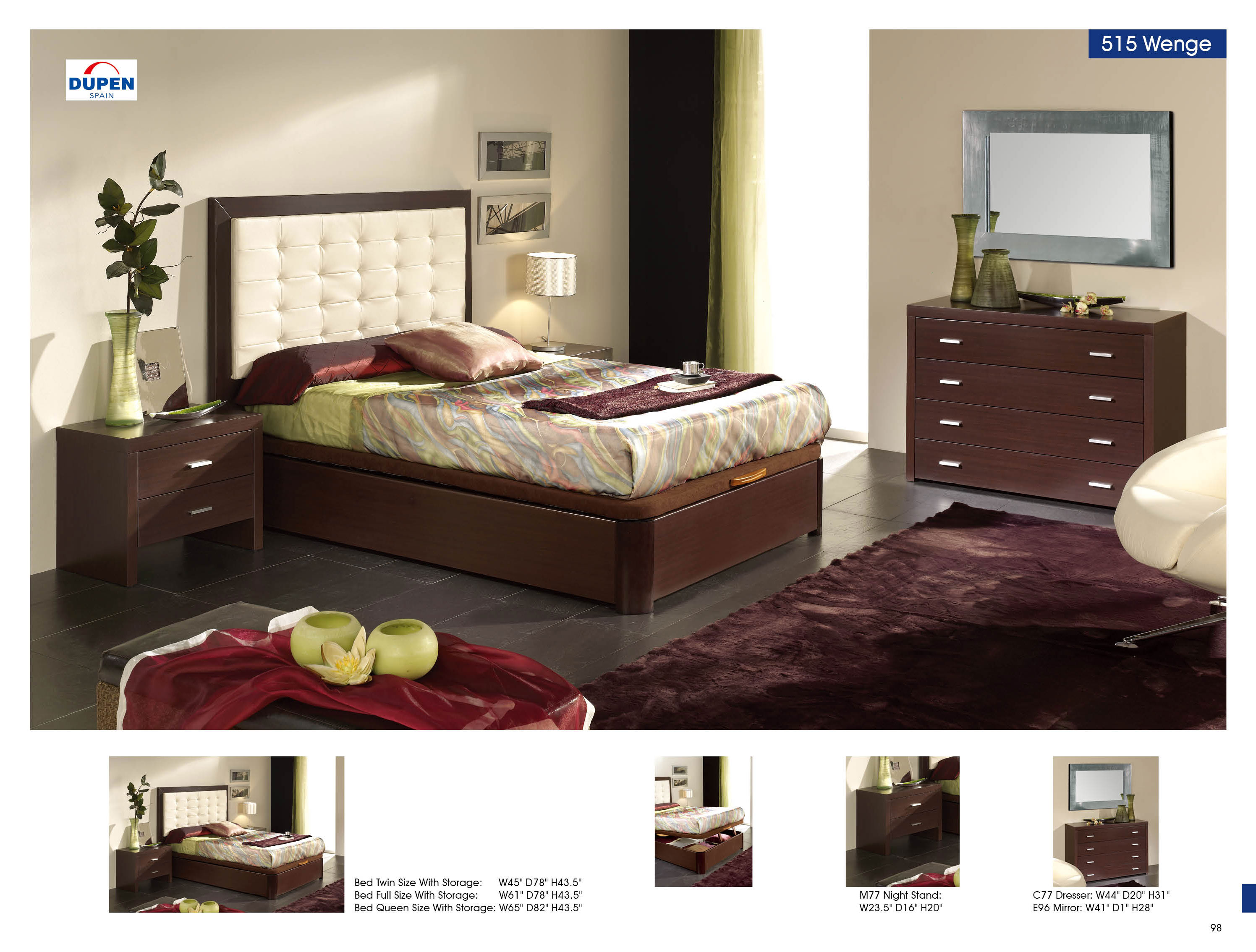 Alicante 515 wenge m77 c77 e96 modern bedrooms for Modern bedroom furniture online